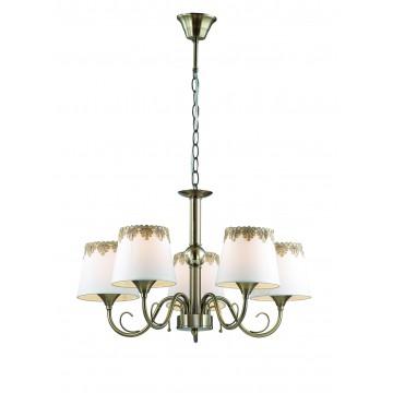 Подвесная люстра Lumion Placida 2998/5, 5xE14x40W, бронза, белый, металл, стекло, текстиль