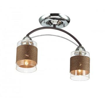 Потолочный светильник Lumion Filla 3030/2C, 2xE27x60W, коричневый, хром, прозрачный, металл, стекло, текстиль