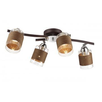 Потолочная люстра с регулировкой направления света Lumion Filla 3030/4CA, 4xE27x60W, коричневый, хром, прозрачный, металл, стекло, текстиль - миниатюра 1