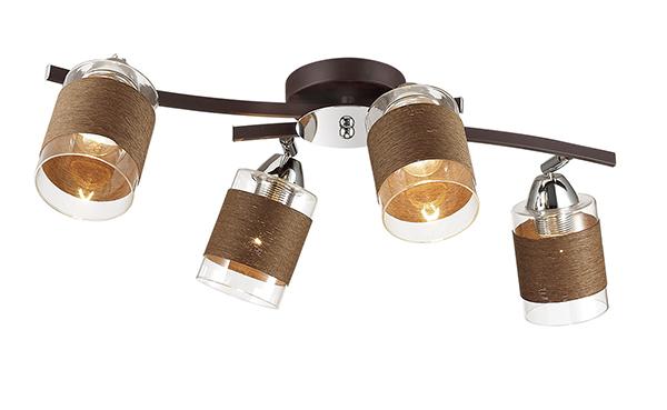 Потолочная люстра с регулировкой направления света Lumion Filla 3030/4CA, 4xE27x60W, коричневый, хром, прозрачный, металл, стекло, текстиль - фото 1