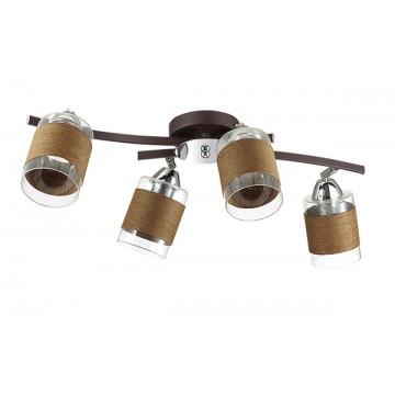 Потолочная люстра с регулировкой направления света Lumion Filla 3030/4CA, 4xE27x60W, коричневый, хром, прозрачный, металл, стекло, текстиль - миниатюра 2