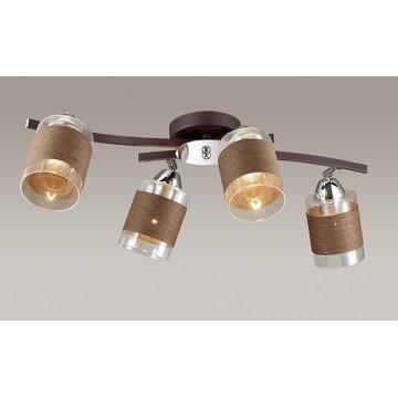 Потолочная люстра с регулировкой направления света Lumion Filla 3030/4CA, 4xE27x60W, коричневый, хром, прозрачный, металл, стекло, текстиль - миниатюра 3