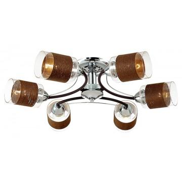 Потолочная люстра Lumion Filla 3030/6C, 6xE27x60W, коричневый, хром, прозрачный, металл, стекло, текстиль