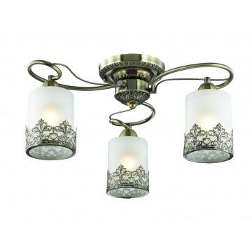Потолочная люстра Lumion Citadella 3070/3C, 3xE27x40W, бронза, белый, металл, стекло