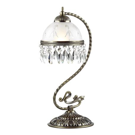 Настольная лампа Lumion Classi Avifa 2989/1T, 1xE27x60W, бронза, белый, прозрачный, металл, стекло, хрусталь
