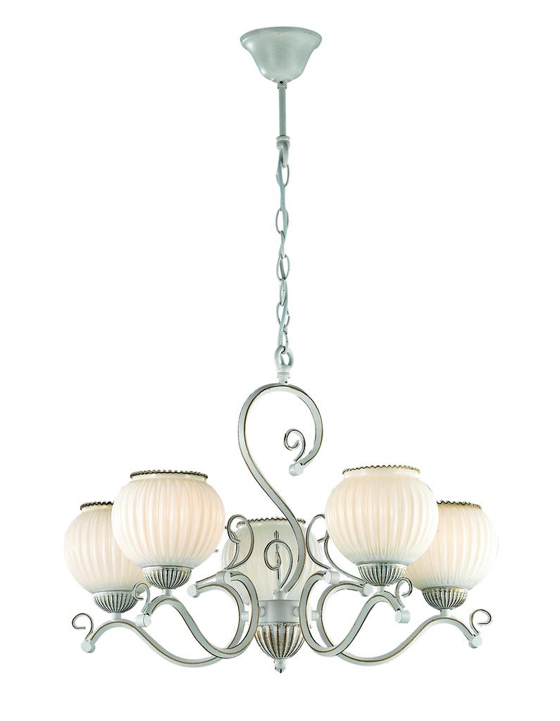 Подвесная люстра Lumion Efetta 2855/5, 5xE27x60W, белый с золотой патиной, белый, металл, стекло - фото 1