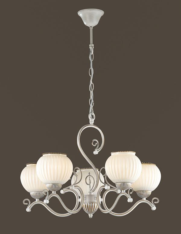 Подвесная люстра Lumion Efetta 2855/5, 5xE27x60W, белый с золотой патиной, белый, металл, стекло - фото 3