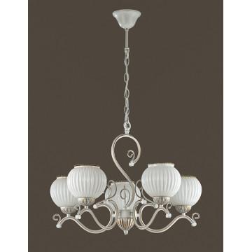 Подвесная люстра Lumion Efetta 2855/5, 5xE27x60W, белый с золотой патиной, белый, металл, стекло - миниатюра 4