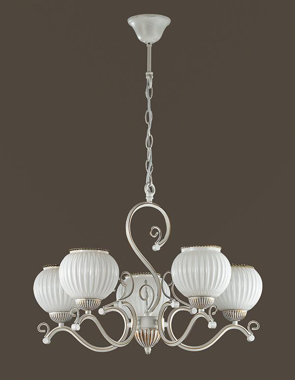 Подвесная люстра Lumion Efetta 2855/5, 5xE27x60W, белый с золотой патиной, белый, металл, стекло - фото 4