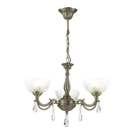 Подвесная люстра Lumion Classi Nora 2958/3, 3xE27x60W, бронза, белый, прозрачный, металл, стекло, хрусталь