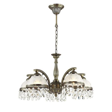 Подвесная люстра Lumion Classi Avifa 2989/5, 5xE27x60W, бронза, белый, прозрачный, металл, стекло, хрусталь