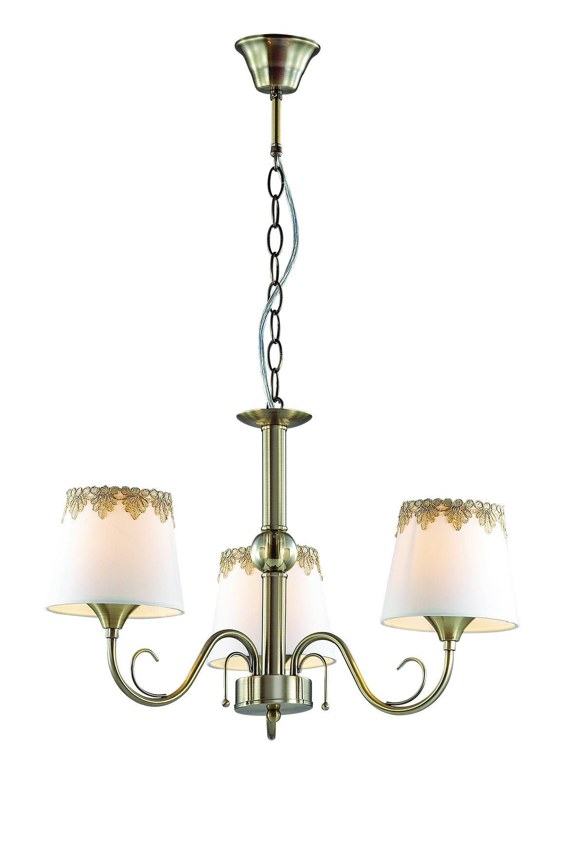 Подвесная люстра Lumion Placida 2998/3, 3xE14x40W, бронза, белый, металл, стекло, текстиль - фото 1