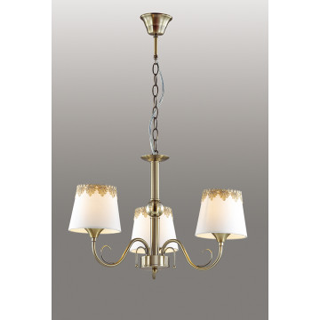 Подвесная люстра Lumion Placida 2998/3, 3xE14x40W, бронза, белый, металл, стекло, текстиль - миниатюра 3