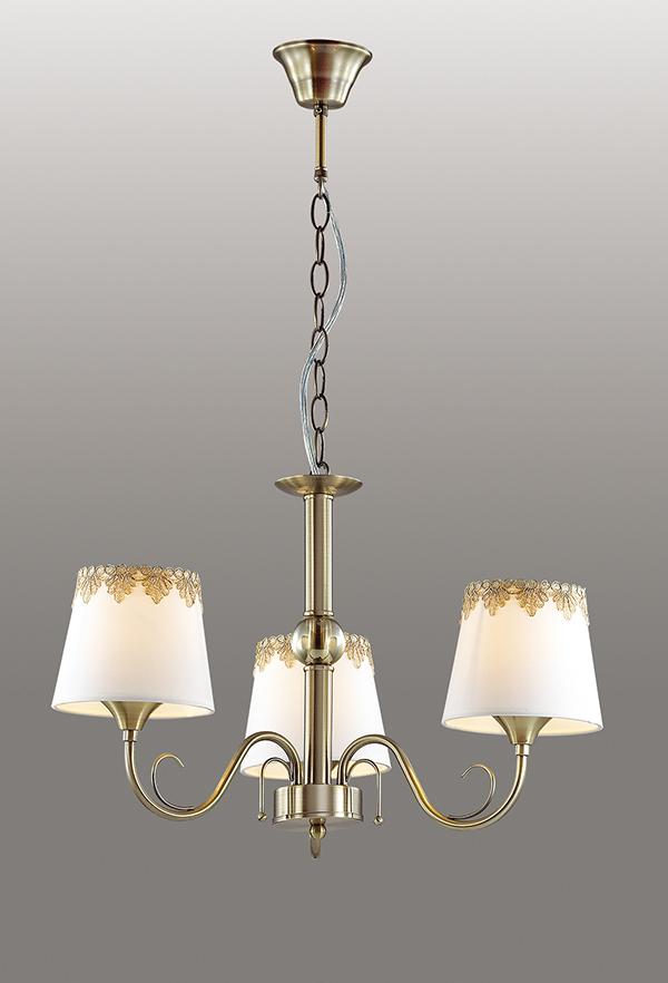 Подвесная люстра Lumion Placida 2998/3, 3xE14x40W, бронза, белый, металл, стекло, текстиль - фото 3