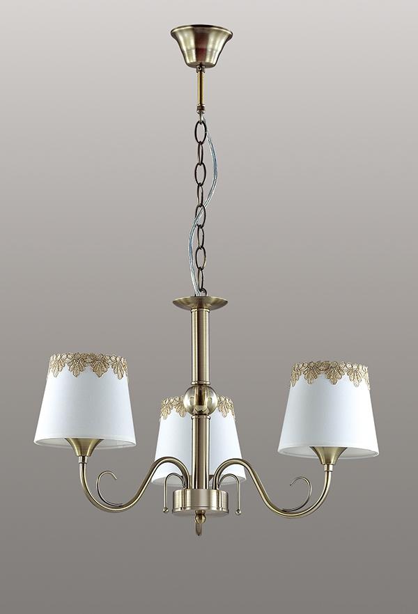 Подвесная люстра Lumion Placida 2998/3, 3xE14x40W, бронза, белый, металл, стекло, текстиль - фото 4