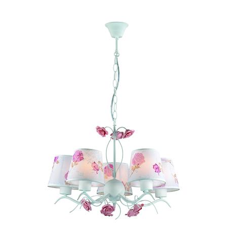 Подвесная люстра Lumion Rosali 3091/5, 5xE14x40W, белый, розовый, керамика, металл, текстиль