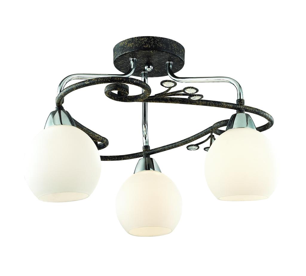 Потолочная люстра Lumion Sivilla 2851/3C, 3xE14x40W, черный, белый, металл, хрусталь, стекло - фото 1