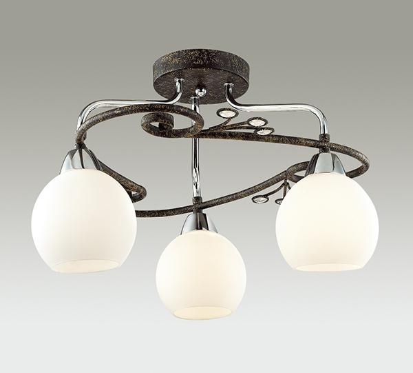 Потолочная люстра Lumion Sivilla 2851/3C, 3xE14x40W, черный, белый, металл, хрусталь, стекло - фото 3