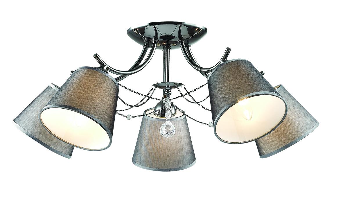 Потолочная люстра Lumion Porta 2974/5C, 5xE14x40W, черный хром, серый, прозрачный, хром, металл, текстиль, хрусталь - фото 1
