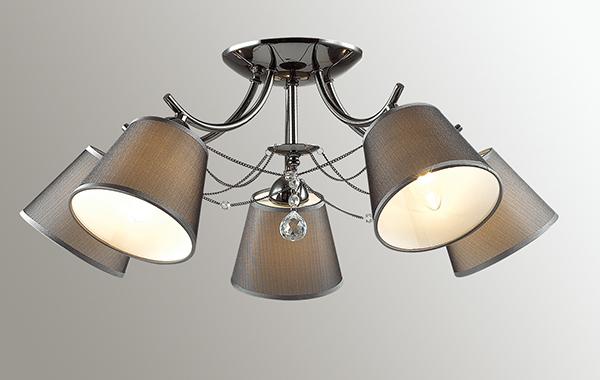Потолочная люстра Lumion Porta 2974/5C, 5xE14x40W, черный хром, серый, прозрачный, хром, металл, текстиль, хрусталь - фото 3