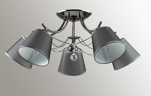Потолочная люстра Lumion Porta 2974/5C, 5xE14x40W, черный хром, серый, прозрачный, хром, металл, текстиль, хрусталь - фото 4