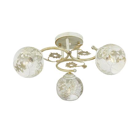 Потолочная люстра Lumion Ivetta 3000/3C, 3xE14x40W, белый с золотой патиной, металл