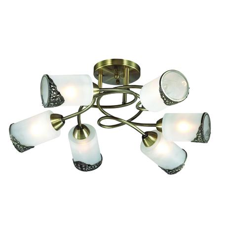 Потолочная люстра Lumion Citadella 3012/6C, 6xE27x40W, бронза, белый, металл, стекло - миниатюра 1