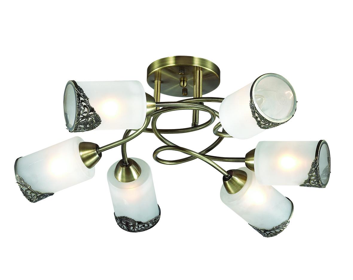 Потолочная люстра Lumion Citadella 3012/6C, 6xE27x40W, бронза, белый, металл, стекло - фото 1