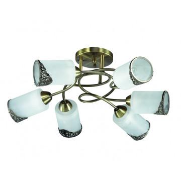 Потолочная люстра Lumion Citadella 3012/6C, 6xE27x40W, бронза, белый, металл, стекло - миниатюра 2