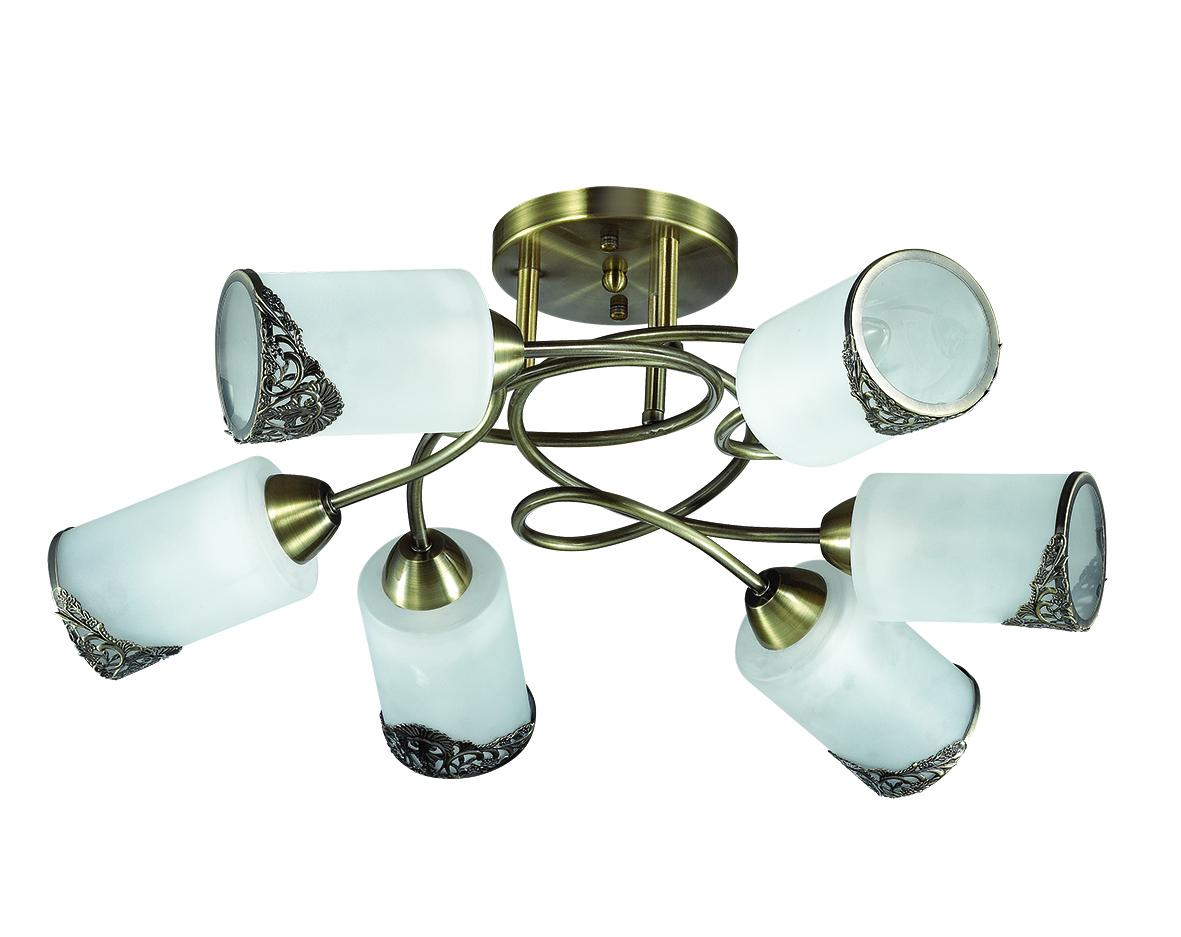 Потолочная люстра Lumion Citadella 3012/6C, 6xE27x40W, бронза, белый, металл, стекло - фото 2