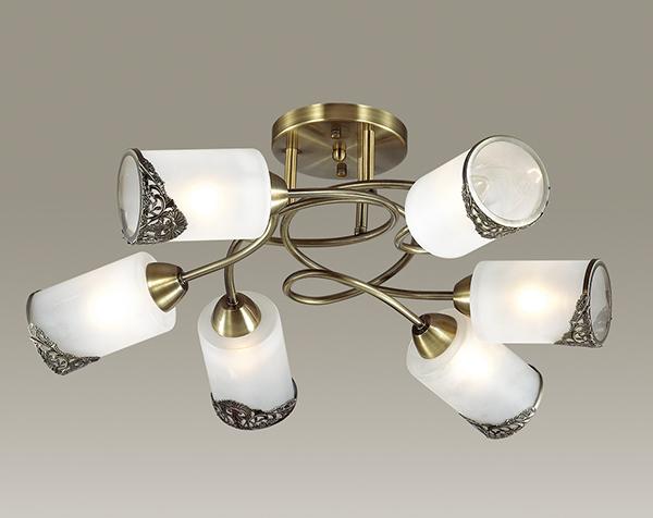 Потолочная люстра Lumion Citadella 3012/6C, 6xE27x40W, бронза, белый, металл, стекло - фото 3