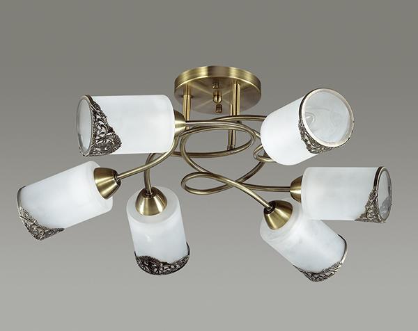 Потолочная люстра Lumion Citadella 3012/6C, 6xE27x40W, бронза, белый, металл, стекло - фото 4