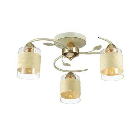 Потолочная люстра Lumion Filla 3029/3C, 3xE27x60W, белый с золотой патиной, белый, металл, стекло, текстиль
