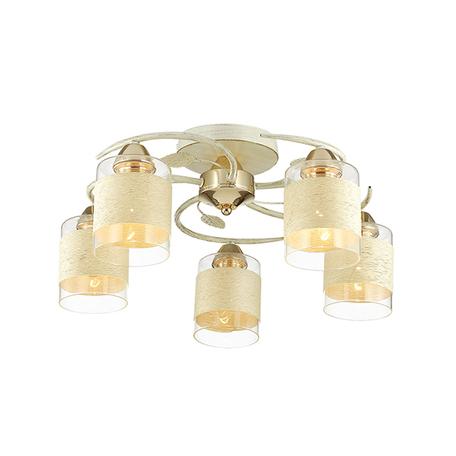 Потолочная люстра Lumion Filla 3029/5C, 5xE27x60W, белый с золотой патиной, белый, металл, стекло, текстиль