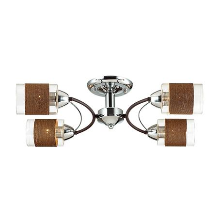 Потолочная люстра Lumion Filla 3030/4C, 4xE27x60W, венге, хром, коричневый, металл, стекло, текстиль