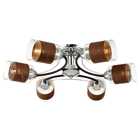 Потолочная люстра Lumion Filla 3030/6C, 6xE27x60W, венге, хром, коричневый, металл, стекло, текстиль