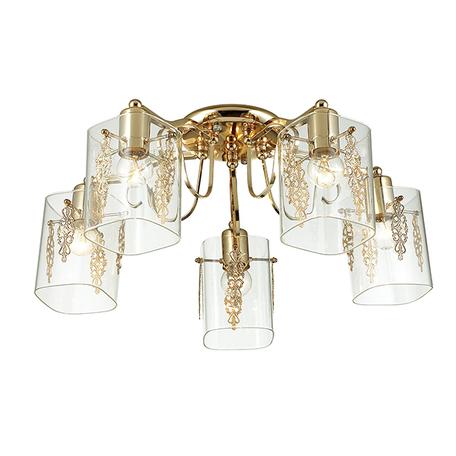 Потолочная люстра Lumion Ora 3069/5C, 5xE27x60W, золото, прозрачный, металл, стекло - миниатюра 1