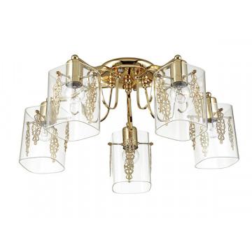 Потолочная люстра Lumion Ora 3069/5C, 5xE27x60W, золото, прозрачный, металл, стекло - миниатюра 2