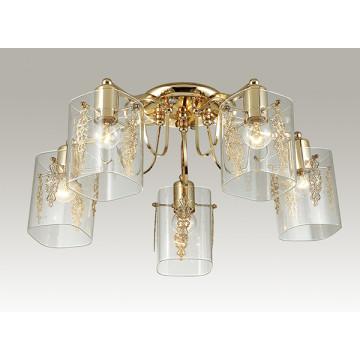 Потолочная люстра Lumion Ora 3069/5C, 5xE27x60W, золото, прозрачный, металл, стекло - миниатюра 3