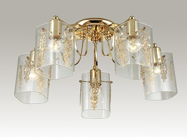 Потолочная люстра Lumion Ora 3069/5C, 5xE27x60W, золото, прозрачный, металл, стекло - фото 3