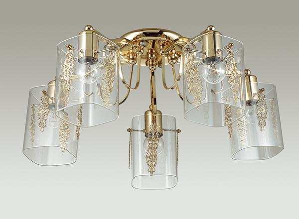 Потолочная люстра Lumion Ora 3069/5C, 5xE27x60W, золото, прозрачный, металл, стекло - фото 4