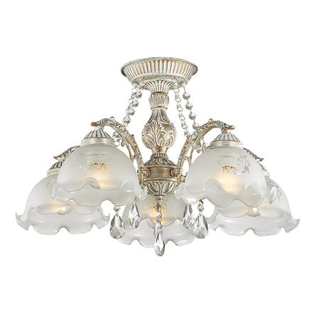 Потолочная люстра Lumion Comfi Casetta 3126/5C, 5xE27x60W, белый с золотой патиной, белый, прозрачный, металл, стекло, хрусталь
