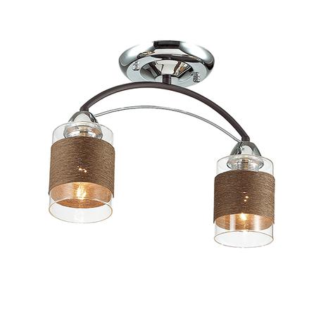Потолочный светильник Lumion Filla 3030/2C, 2xE27x60W, венге, хром, коричневый, металл, стекло, текстиль