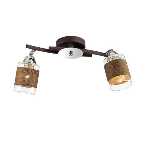 Потолочный светильник с регулировкой направления света Lumion Filla 3030/2CA, 2xE27x60W, венге, хром, коричневый, металл, стекло, текстиль