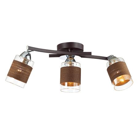 Потолочный светильник с регулировкой направления света Lumion Filla 3030/3CA, 3xE27x60W, венге, хром, коричневый, металл, стекло, текстиль - миниатюра 1