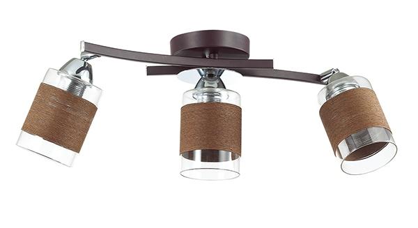 Потолочный светильник с регулировкой направления света Lumion Filla 3030/3CA, 3xE27x60W, венге, хром, коричневый, металл, стекло, текстиль - фото 2