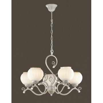 Подвесная люстра Lumion Efetta 2855/5, 5xE27x60W, белый с золотой патиной, белый, металл, стекло - миниатюра 3