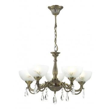 Подвесная люстра Lumion Nora 2958/5, 5xE27x60W, бронза, белый, прозрачный, металл, стекло, хрусталь