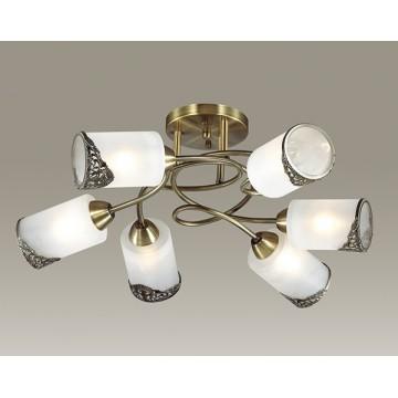 Потолочная люстра Lumion Citadella 3012/6C, 6xE27x40W, бронза, белый, металл, стекло - миниатюра 3