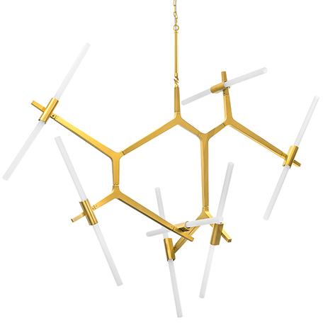 Подвесная люстра Lightstar Struttura 742143, 14xG9x40W, матовое золото, белый, металл, стекло